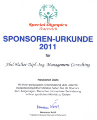 Social Engagement - Sponsoring Special Olympics Österreich 2011