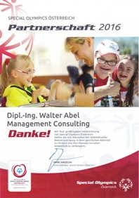 Social Engagement - Sponsoring Special Olympics Österreich 2016